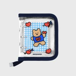 Bear heart-navy(3hole diary)