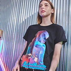 W2092VB 모탈라 오버핏 20수 반팔 티셔츠 우먼 밴타블랙