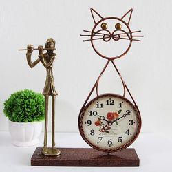 플루트 조각상 동공예품 고양이 탁상시계 SCB-505 국내제조