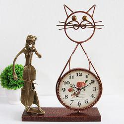 첼로 조각상 동공예품 고양이 탁상시계 SCB-506 국내제조