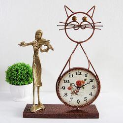 바이올린 조각상 동공예품 고양이 탁상시계 SCB-507 국내제조