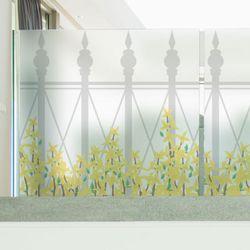 ta731-로망스울타리펜스와개나리꽃글라스시트지