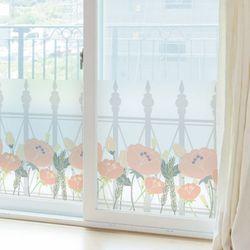 ta734-로망스울타리펜스와분홍꽃글라스시트지