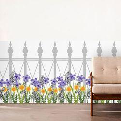 ta738-로망스울타리펜스와여러가지꽃불투명유리시트지