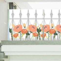 ta739-로망스울타리펜스와분홍꽃불투명유리시트지