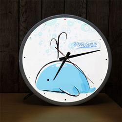 ng242-LED시계액자35R귀여운고래