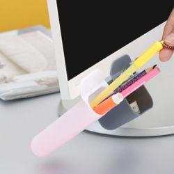 접착식 데스크+모니터 연필꽂이(5.5x11cm) (화이트)