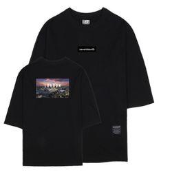 나이트뷰 런던 7부 티셔츠 블랙