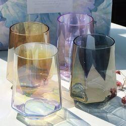 레인보우 홈카페유리컵 팔각 홀로그램유리컵