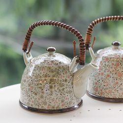 일본 도자기 아리타 전통 고급 다기 스위트 잔꽃 차망 주전자 1p