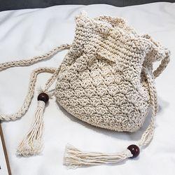 바캉스 여름 니트 뜨개 미니 복조리 크로스 백 가방