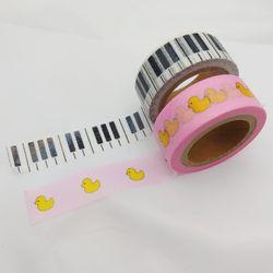 패턴(메모지와 숲 피아노건반) 마스킹테이프