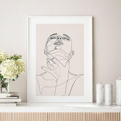우먼핸드 드로잉 액자 그림 A3 포스터