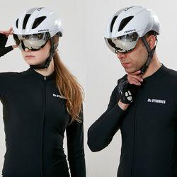 에어로 고글 자전거헬멧+미러고글화이트실버(유광)