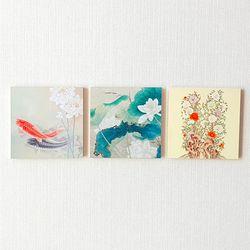 명화포토패널[명화뜨레스]잉어-연꽃-모란
