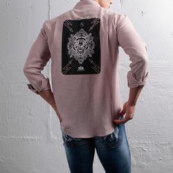 그린바나나 남자 긴팔 셔츠 남방 craft wolf pink