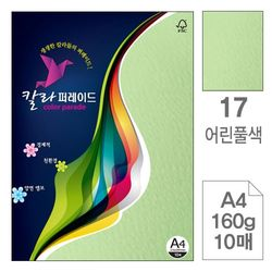 칼라퍼레이드 17 어린풀색 A4 160g 10매입10개 색상지