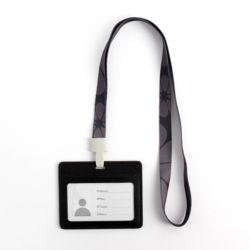 가죽 가로형 사원증 케이스+패턴 목걸이줄(블랙)