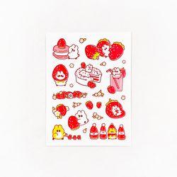 딸기와 딸기마카롱 스티커
