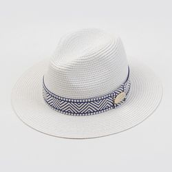 Blue Mono Line Summer White Fedora 여름페도라