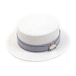 Blue Mono Line White Flat Short Panama Hat 여름페도라