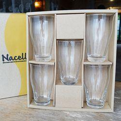 일본 Nacelle 내열강화유리 글라스 5p 세트 카페 유리컵 홈세트