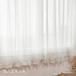 나폴리 뜨개 느낌 레이스 가리개 커튼(창문형140x150)2장+끈+봉