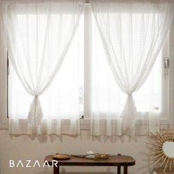 나폴리 뜨개 느낌 레이스 가리개 커튼(창문형140x150)2장+끈