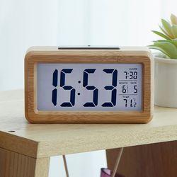 우드 디지털 전자 탁상시계 무소음 알람시계 건전지사용