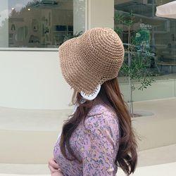 여름 리본 지사 레이스 밀짚 보넷 모자