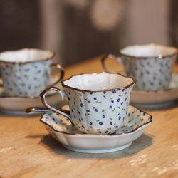 일제 아리타 400주년 한정 블루로즈 5인조 찻잔세트 커피잔세트