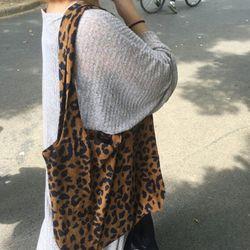 마이엘 코듀로이 골덴 레오파드 에코백 튼튼한 천가방