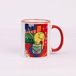 BooKiss Mug 명화 머그컵 - 마티스-노랑고양이