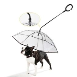 C형 손잡이 투명 강아지 우산 반려동물 산책 외출용품