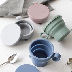 국산 파스텔 실리콘 접이식 텀블러 자바라컵(4color)