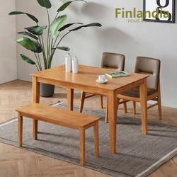 핀란디아 뉴오스턴 원목 4인식탁세트(의자2+벤치1)