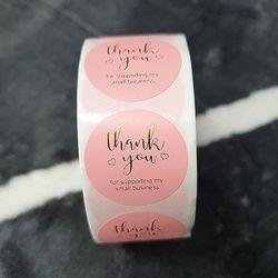 ABM 핑크 원형스티커 땡큐 500매