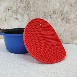 ABM 원형 실리콘 벌집 냄비받침 레드