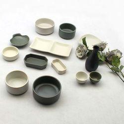 달소금 도자기 신혼식기세트 무광 2인 그릇 홈세트(13P)
