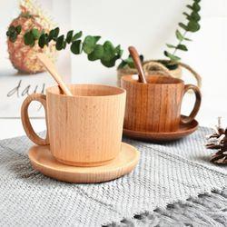 티크 우드 천연 원목 나무 커피잔세트 (2color)