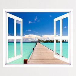 cv677-푸른하늘아래휴양지창문그림액자(중형)