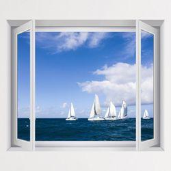 iv351-푸른하늘아래바다와요트창문그림액자(중형)