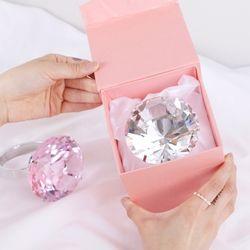 초대형 왕 슈퍼 다이아몬드 반지 링 핑크+선물box