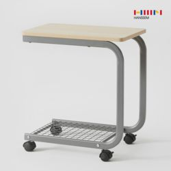 비앙 이동식 테이블 (커브형) 2단 선반  철제 사이드