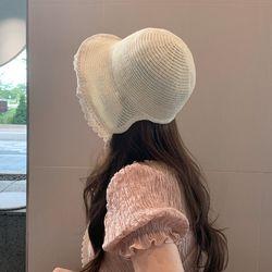 니트 레이스 끈 여성 밀짚 보넷 모자 5color