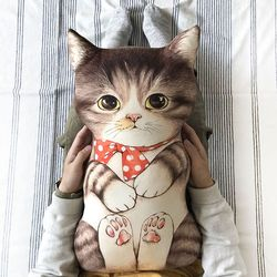 고등어 태비 고양이 (20수 린넨 45X75cm) 쿠션용 DIY 커트지