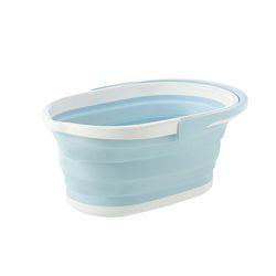 손잡이 타원 접이식 자바라 빨래 바구니 1개 (블루)