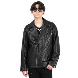 [SET] Leather biker jacket (Black)