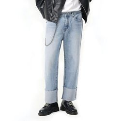 Basic roll-up jeans (Lightblue)