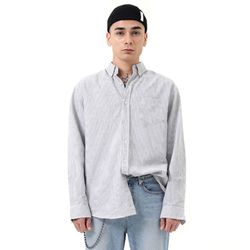 Vertical oversized stripe shirt (Gray)